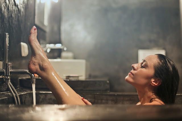 a woman bathing